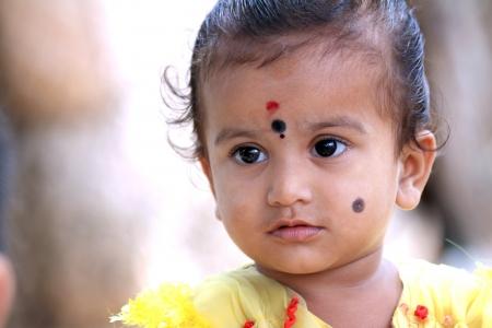 indian village: Indian Rural Child Looking Somewhere