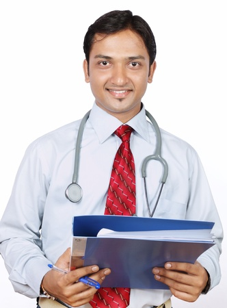 Portrait of Indian Doctor with Reports photo