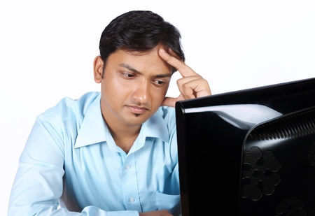 Indian young Businessman looking depressed Stock Photo