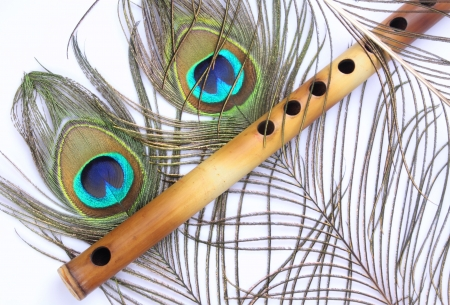 Indian Flute With Peacock Feather photo