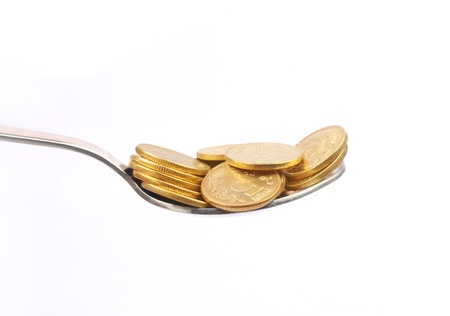economise: Gold Coins with Silver Spoon