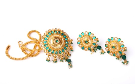 Indian Gold Necklace With Earrings photo