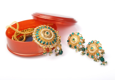 Indian Traditional Gold Bangles with Earrings photo