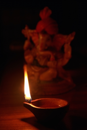 Indian Oil Lamp with Lord Ganesha photo