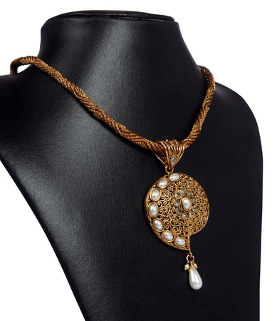 costume jewelry: Indian Gold Necklace with Pearls Stock Photo