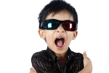 Cheerful Indian Baby wearing 3D glasses photo