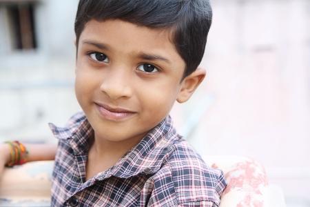 indian village: Indian Little Boy Posing to Camera