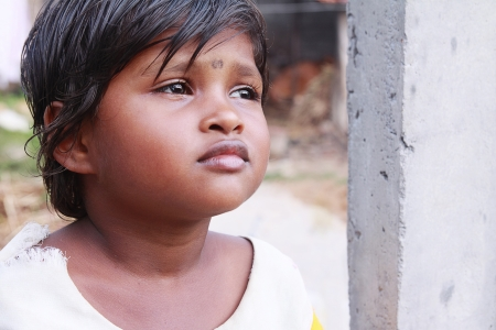 Indian Village Little Girl Stock Photo