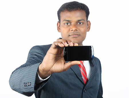 Indain Buiness Man Shows a Smartphone Stock Photo