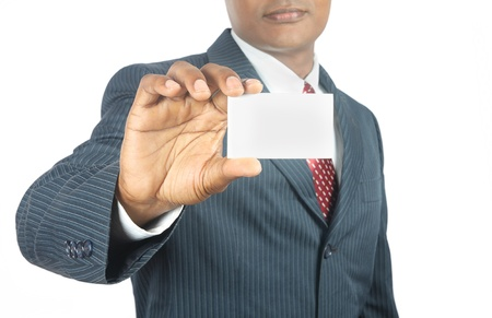 indian business man showing blank business card photo