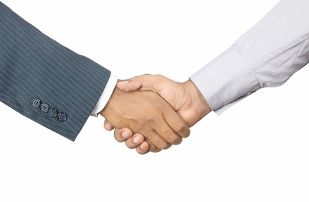 indian businessmen shaking hands on white background Stockfoto