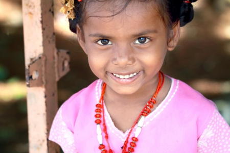 beautiful indian girl face: Smiling Indian Village Little Girl