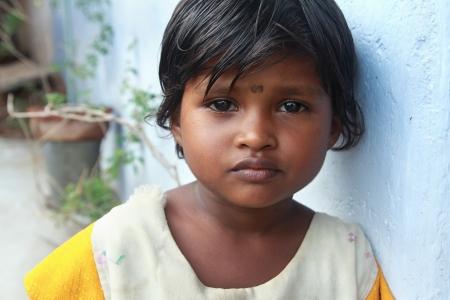 Portrait of Indian Village Poor Girl photo