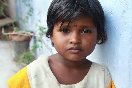 Portrait of Indian Village Poor Girl Stock Photo
