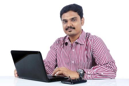 indian businessman:  Indian business man with Laptop Stock Photo