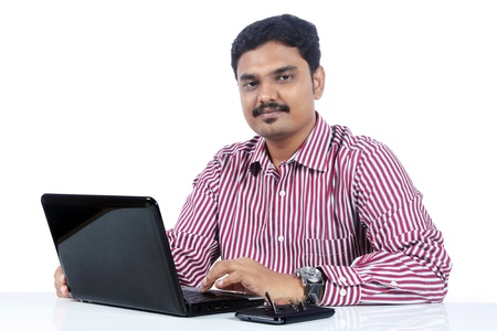 Indian business man with Laptop Standard-Bild
