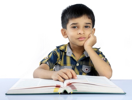elementary students: Indian Cute School Boy Stock Photo