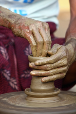 tamilnadu: Indian Potter Making a Pot