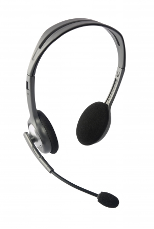 headset voice: Headphones with Mic Stock Photo