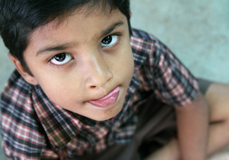 looking up: Cute Indian School Boy Looking up