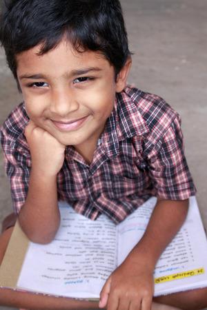 Indian School boy studying
