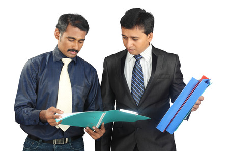 Indian business people with files