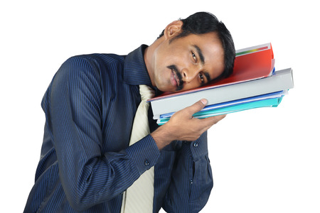 casually: Indian Young Man Holding The Files Stock Photo