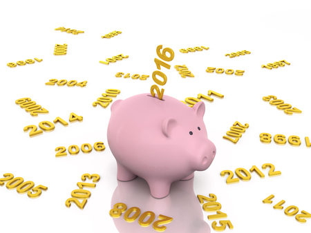 money market: New Year 2016 with Piggy Bank Stock Photo