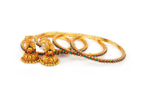 bangle: Indian Traditional Gold Bangle with Earrings
