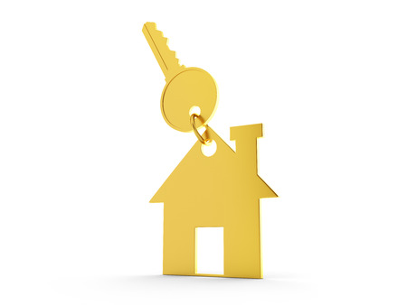home owner: 3d Home with Key Stock Photo