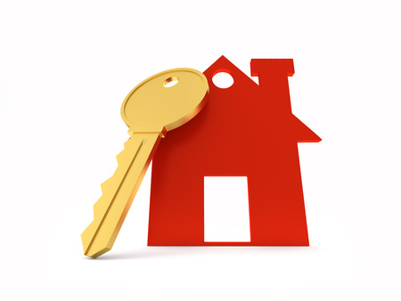building estate: 3d Home with Key Stock Photo