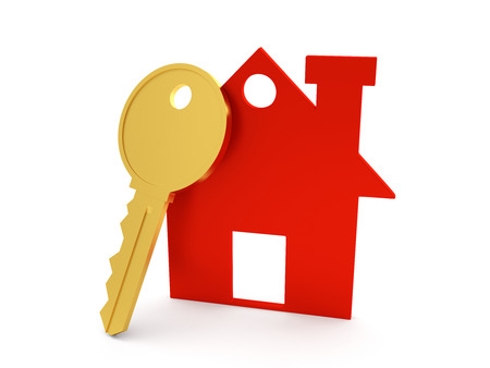 reside: 3d Home with Key Stock Photo