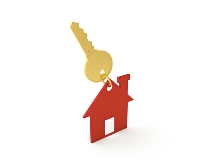 occupancy: 3d Home with Key Stock Photo