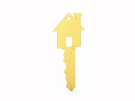 reside: Golden House key isolated on White Background