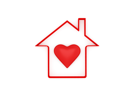 comfort: 3d Home with Heart Symbol Stock Photo