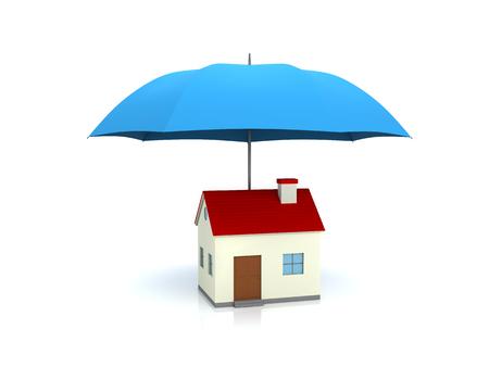 proteccion: Paraguas con Home Foto de archivo