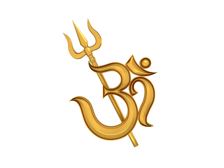 3d om: Hindu Om Icon with Trident