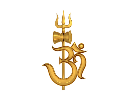 3d aum: Hindu Om Icon with Trident