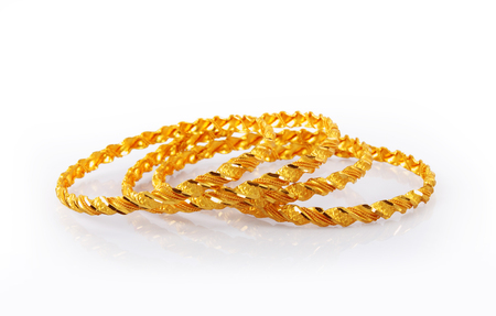 bride bangle: Indian Traditional Gold Bangles Stock Photo