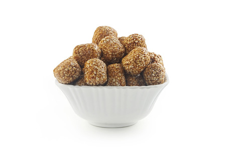 indian sweet: Indian sweet Sesame rullede balls Stock Photo