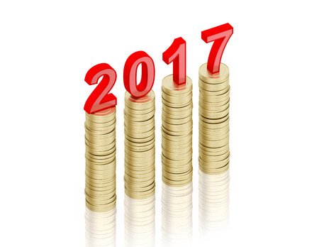 year increase: New Year 2017 - 3D Rendered Image
