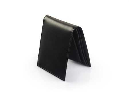 billfold: Mens Black Leather Wallet Isolated on White Stock Photo