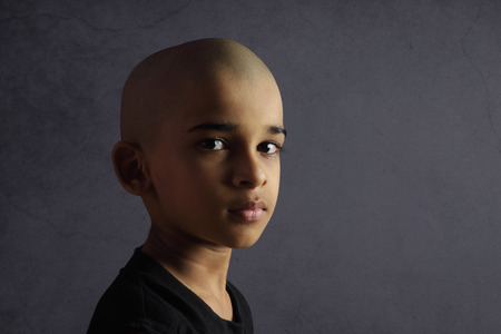 shaved head: Portrait of Indian Boy with Shaved Head