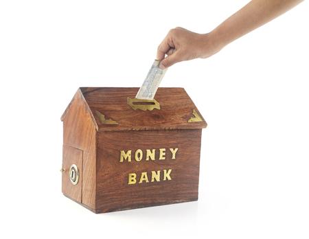 depositing: Depositing money in Money Box