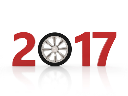 tire cover: New year - 3D Rendering image Stock Photo