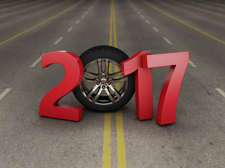 year 3d: New year - 3D Rendering image Stock Photo