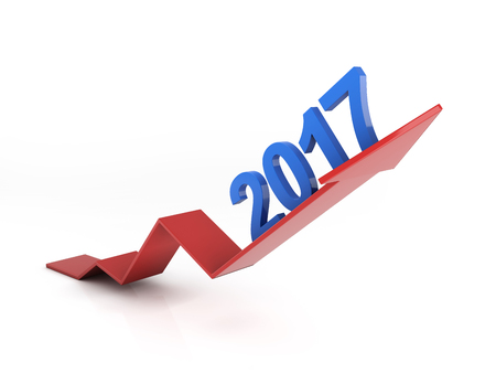 year increase: New year - 3D Rendering image Stock Photo