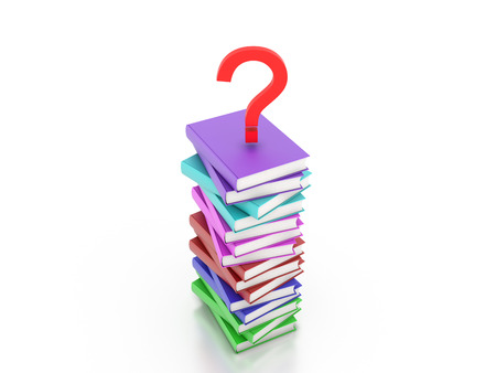Books with Question mark Symbol 3D Rendering Image