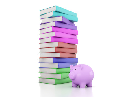 Books with Piggy Bank 3D Rendering Image