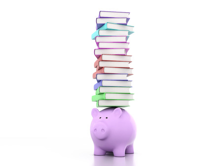 magazine stack: Books with Piggy Bank 3D Rendering Image